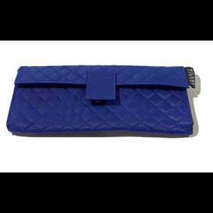 Milano Series Blue Quilted Snap Clutch Purse